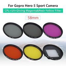 58mm CPL+UV+Diving Magenta&Red+Yellow Filter+Lens Cap+Adapter For GoPro Hero 5 Action Sport Camera