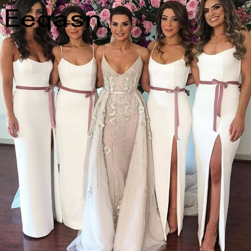 2019 New White Bridesmaid Dresses Strapless Straight Ankle Length Front Split Satin Long Wedding Guest Dress Cheap Women Gowns