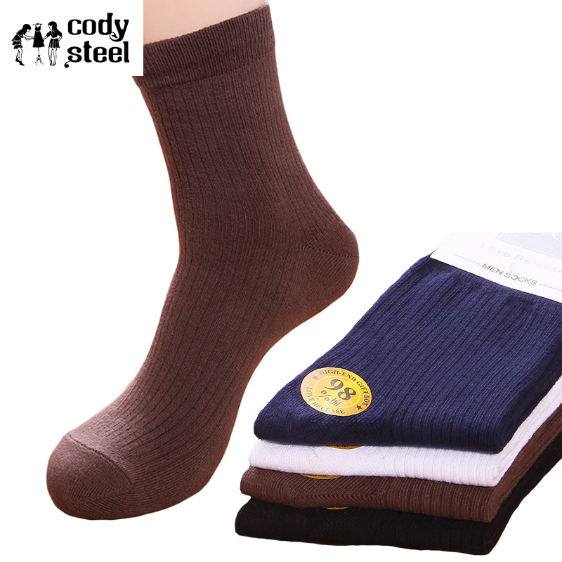 Cody Steel Fashion Mans Socks Solid Color Socks Cotton Men Series Cotton Sox Male Business Dress Socks 5pairs/lot