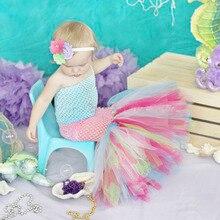 Платье-пачка русалки из тюля с рыбным хвостом для маленьких девочек милый костюм принцессы детский карнавальный костюм на день рождения фотосессию праздник
