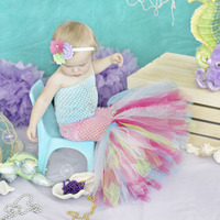 Infant Toddler Baby Girls Tulle Mermaid Fishtail Tutu Dress Cute Princess Costume Kids Pageant Birthday Photograph Party Dresses