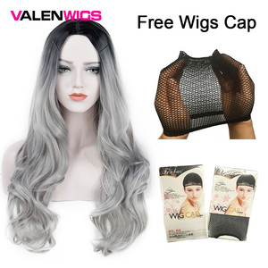 Image 5 - ValenWigs Ombre Wig Two Tones Black To Silver Gray Synthetic Wigs Heat Resistant Glueless Long Wavy Cosplay Hair Wigs For Women