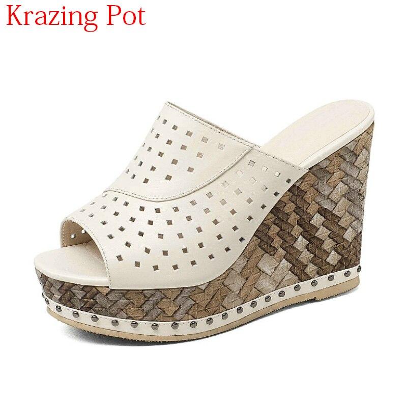 US $50.96 51% OFF|2018 New Fashion Echtes Leder Sommer Schuhe Peep Toe Plateau Pantoletten Slingback High Heels Party Niet Frauen Keile Sandalen