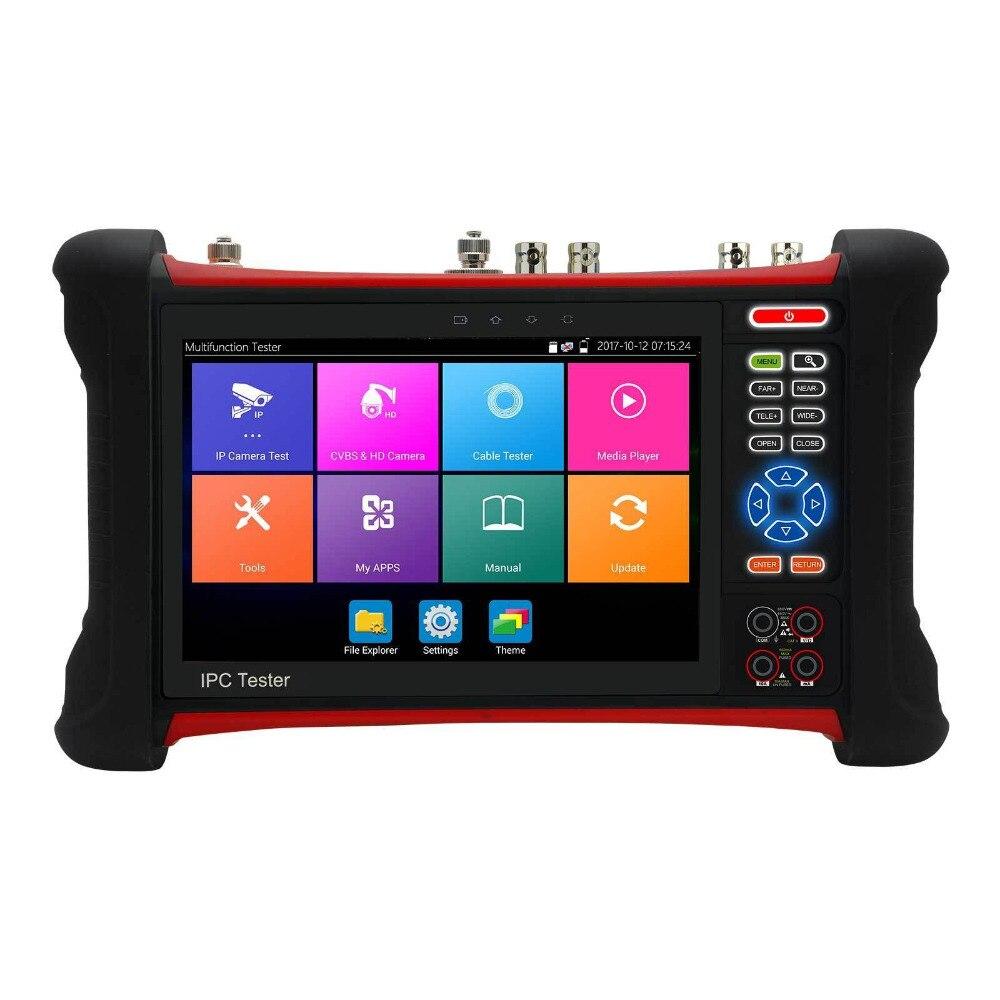 7 pouce Fonctionnelle Complète H.265 4 k HD CCTV Testeur Moniteur IP CVBS AHD CVI TVI 8MP 5MP ONVIF Multimètre TDR WIFI HDMI Entrée POE 12 v