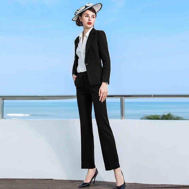 2019 Formal Elegant Women's Business Blazers Trouser Suits Office Sets Business Ladies Plus Size Formal Jacket Pants Office Lady