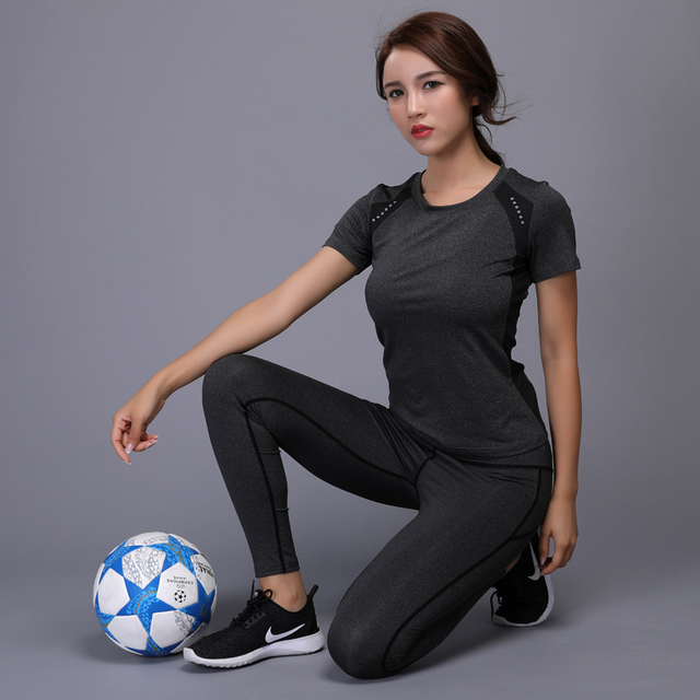 OLOEY Sexy Yoga Set sports wear for women gym TShirt + Pants Breathable Gym Workout Clothes Compressed Yoga Leggings Sport Suit 2