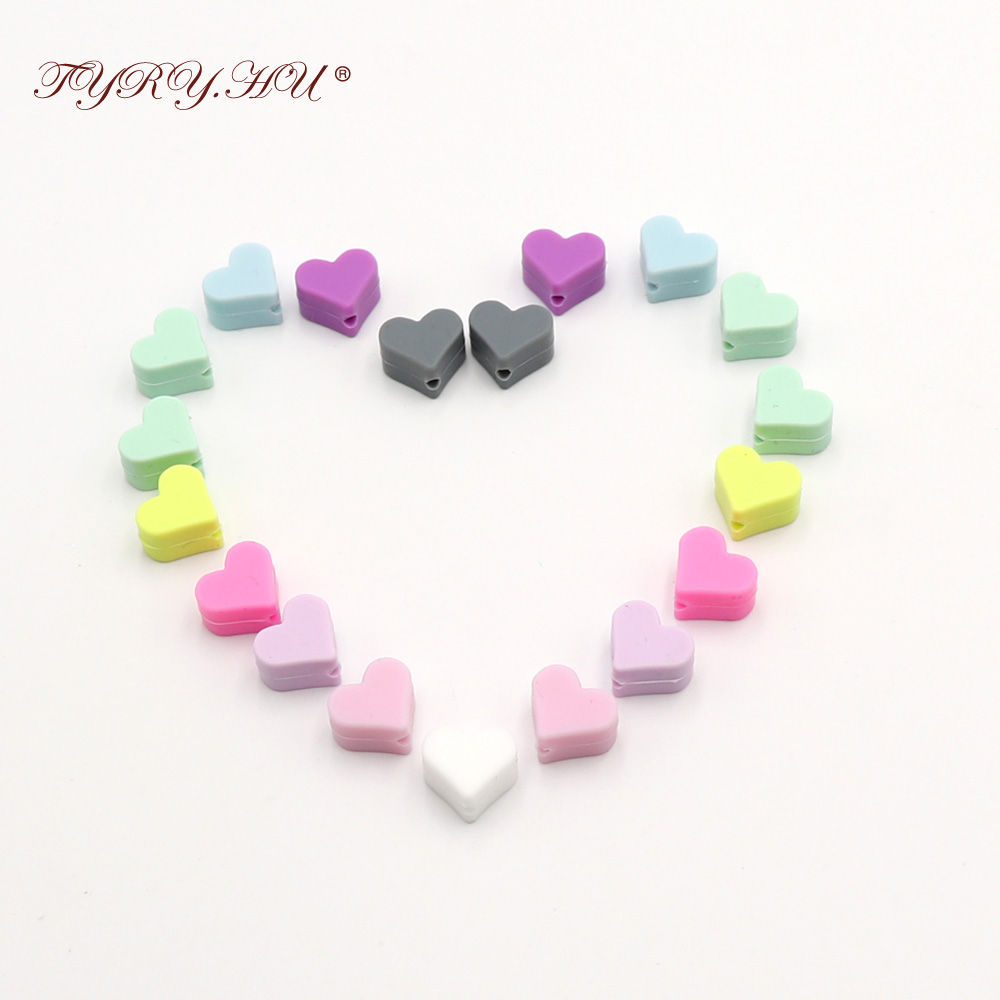 TYRY.HU 10pc Silicone Pastel Heart Beads Baby Teething Bead Food Grade Nursing Silicone Baby Toy DIY Silicone Crafts Accessory