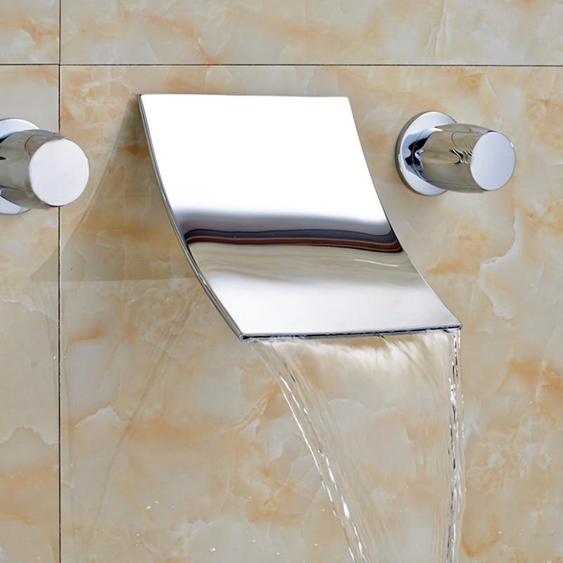 Wall Mounted Widespread Waterfall Bathroom Tub Faucet Basin Sink Mixer Tap NEW цены онлайн