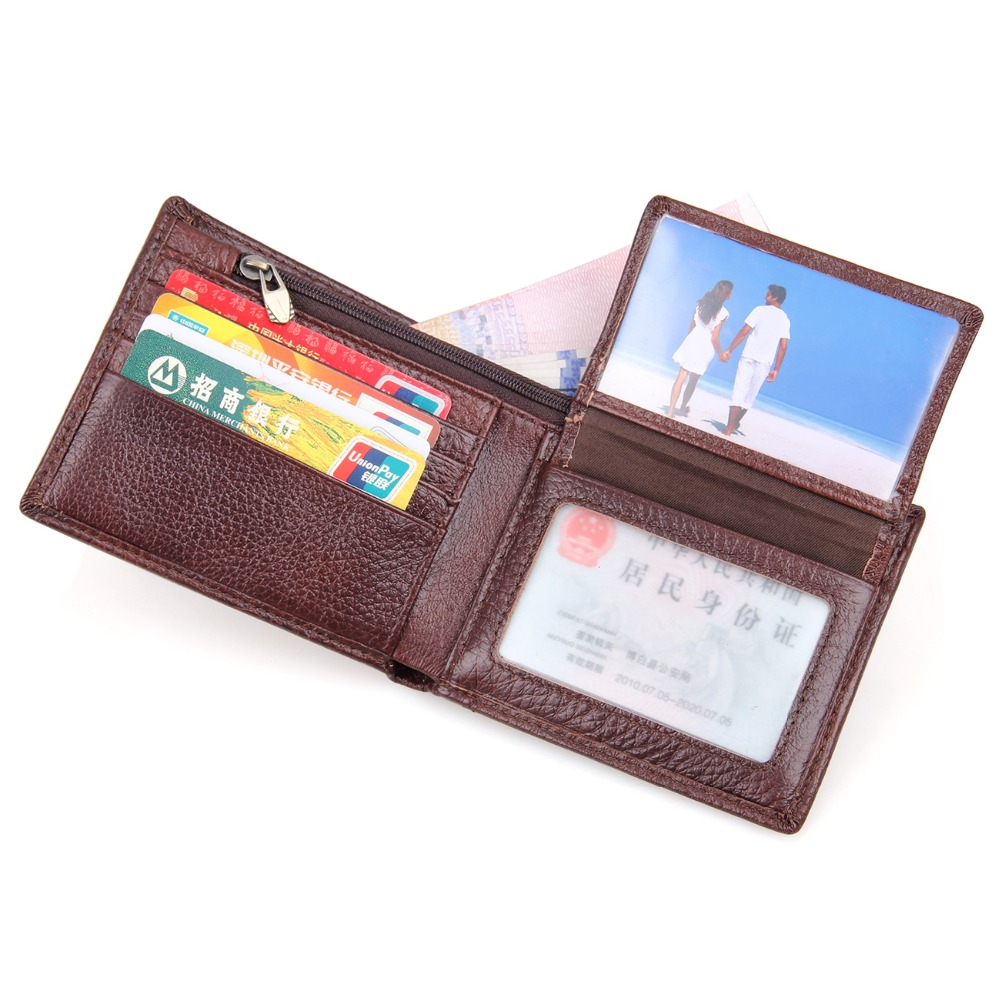 Natural Cow Leather Short Wallet RFID Blocking Credit Card Case For Men Daily Money Purse R 8142 3C in Wallets from Luggage Bags
