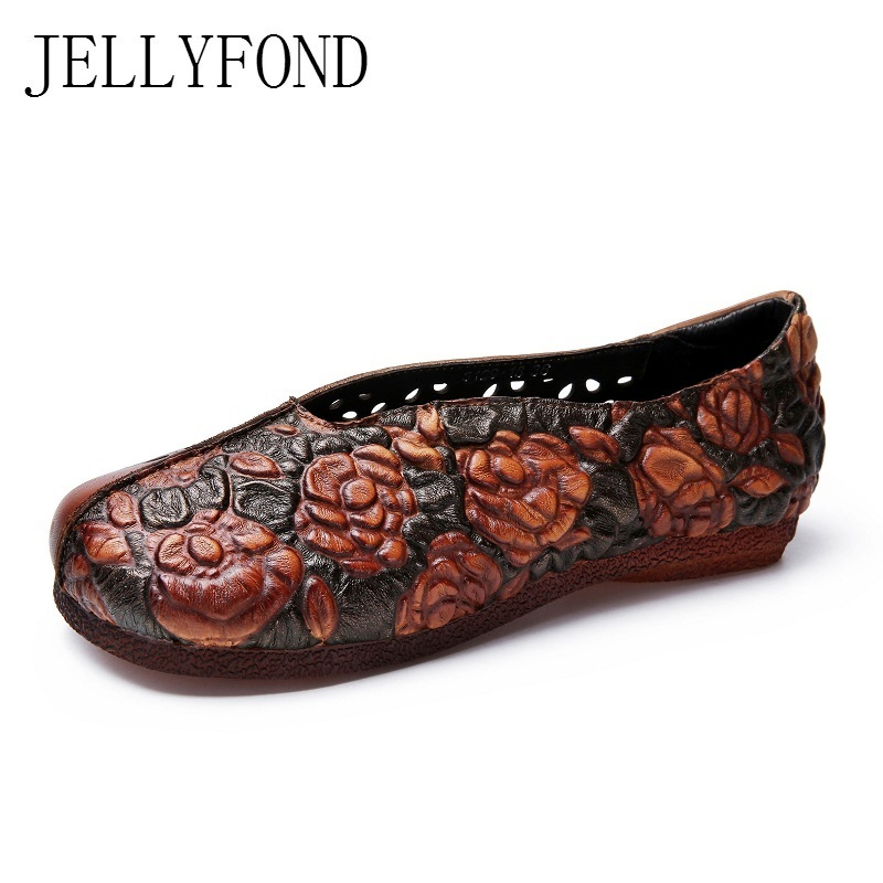 Handmade Cow Genuine Leather Women Vintage Flats 2018 Spring Round Toe Cuts Outs Slip On Loafers Comfortable Shoes Woman 2017 vintage style real leather women flats brife pointed toe slip on handmade genuine leather designer shoes woman