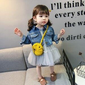 Image 4 - 2019 Spring Girls Suits Childrens Fashion bottom dress + denim jacket 2 pcs Clothes Kids Mesh Dress Coat Clothing Sets