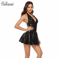 BOHOWAII Women Nuisette Faux Leather V Neck Underwear Mini Dress Backless Lingerie Plus Size Sexy Costumes