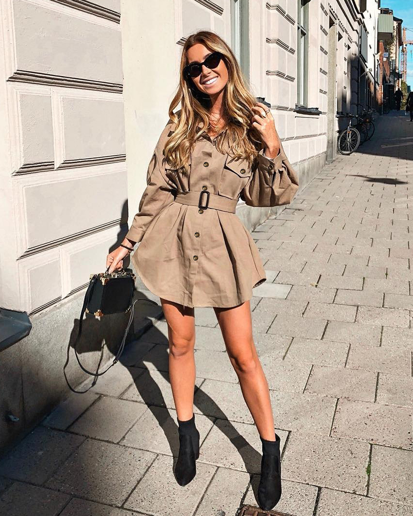 OOTN Long Batwing Sleeve Mini Dress Women Office Lady Shirt Dresses Sashes Vintage Tunic Dress Khaki 2019 New Outerwear Casual (2)