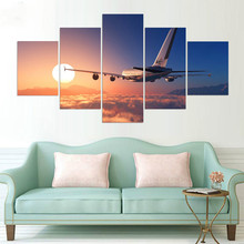 Canvas Print Wall Art HD Framework 5 PiecesSet Plane Flying Above The Clouds Home Decor Paintings Modern Modular Pictures