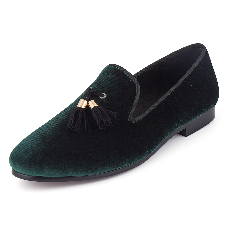 Чоловічі весільні туфлі Harpelunde Green Velvet Loafers Tassels Flats Розмір 6-14