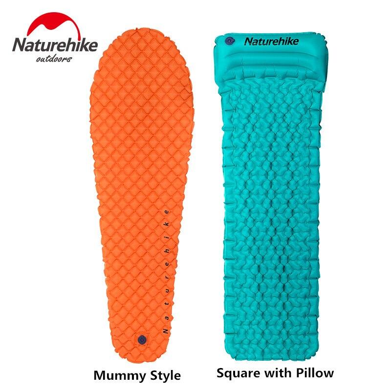 Naturehike Outdoor Camping Inflatable Tent Mat Mummy Pads With Pillow Lightweight Air Mattress 470g Utralight camping