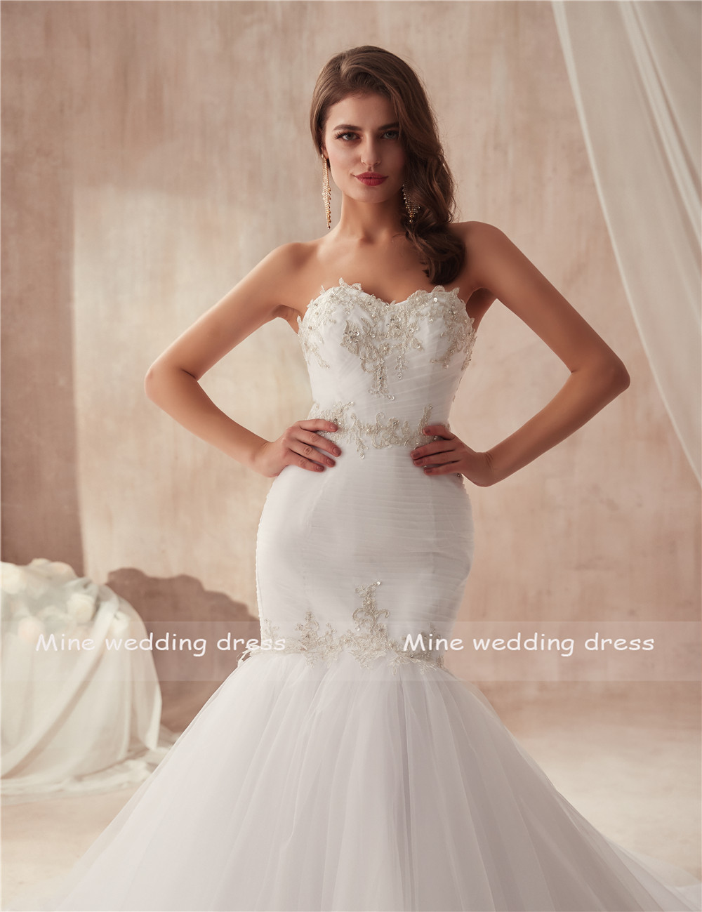 Image 5 - vestido de festa de casamento Strapless Ruched Tulle Slim Sexy Mermaid Wedding Dress with Silver Lace Applique Bridal Gowns-in Wedding Dresses from Weddings & Events