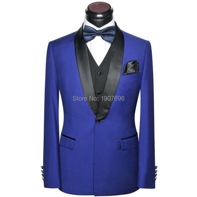 Royal Blue Wedding Men Suits 2018 Shawl Lapel Slim Fit