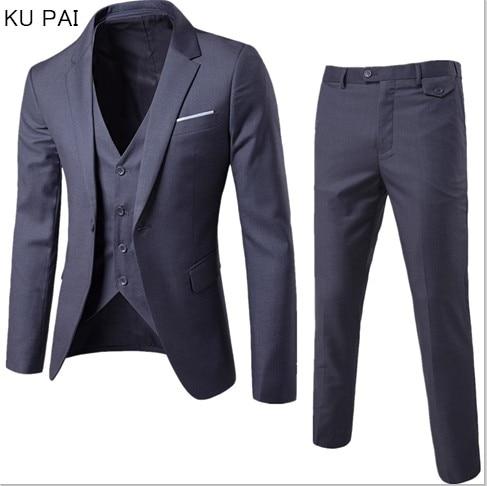 (Пиджак + брюки + жилет) роскошный мужской свадебный костюм мужские куртки для женщин приталенные костюмы для мужчин костюм деловой официаль...