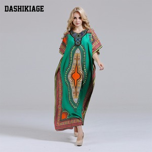 Image 1 - Dashikiage فستان داشيكي جديد أنيق للنساء 100% قطن أفريقي مطبوع ماكسي فيستدوس رداء أفريقي نسائي داشيكي