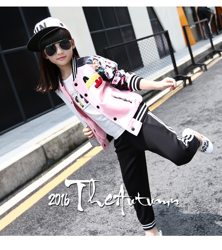 flowers printed autumn tracksuit suits kids autumn pants sports girls clothes set girls outfits baseball jackets tops pants active clothes suits for girls  6 7 8 9 10 11 12 13 14 15 16 years old little teenage big girls girls boutique cloth (12)