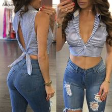 цены Hot Women's Crop Top Sexy deep v neck short crop top tees Casual short sleeve tank top Summer 2018 streetwear striped women tops