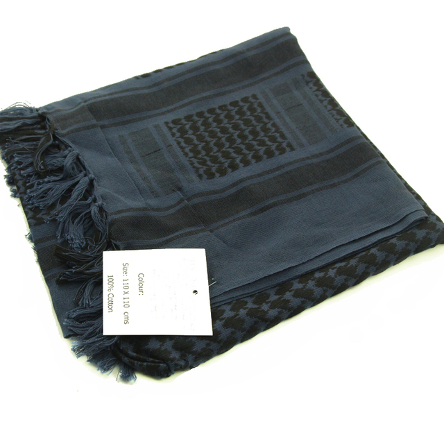 Cor azul 100% algodão árabe keffiyeh shemagh cachecol militar tático lenços engrossados hijab quadrado à prova de vento bandanas