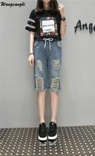 Wangcangli Summer Knee Length in Women Jeans Short Feminino Plus Size High Waist Denim Casual Jeans Hole Womens Blue Pants 5XL