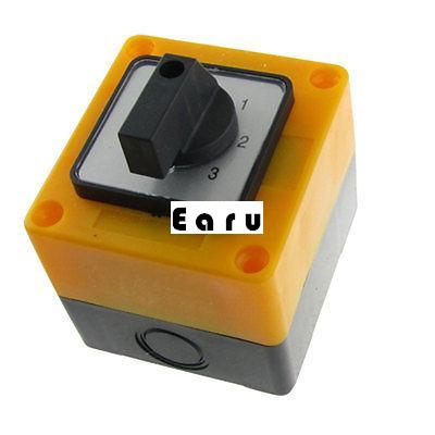 Factory supplied Ui 660V Ith 20A Rotary Selector 4 Positions Enclosed Changeover Switch ui 440v ith 10a rotary knob 3 positions changeover cam switch station