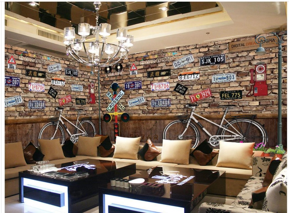 ФОТО Home Decoration modern living room wallpapers painting wallpaper Vintage Bicycle License Plate 3d room wallpaper