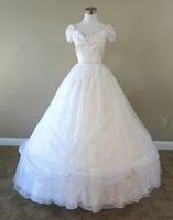 White Chiffon Pink Trim Gown Civil war costume renaissance dress satin dres