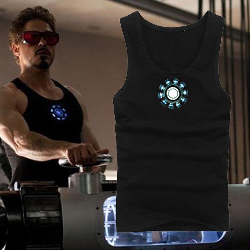 Men's IRON MAN Tony Stark Vest Reactor Anime Cosplay Cotton Costume Vest Men Women Summer Sleeveless Tops noctilucence Vest Gift