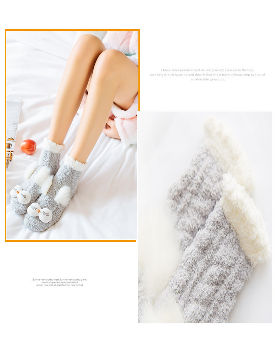 Autumn And Winter Coral Velvet Sleep Sock Female Tube Thickening Warm Round Big Eyes Home Non-Slip Towel Cute Girl Floor Socks (4)