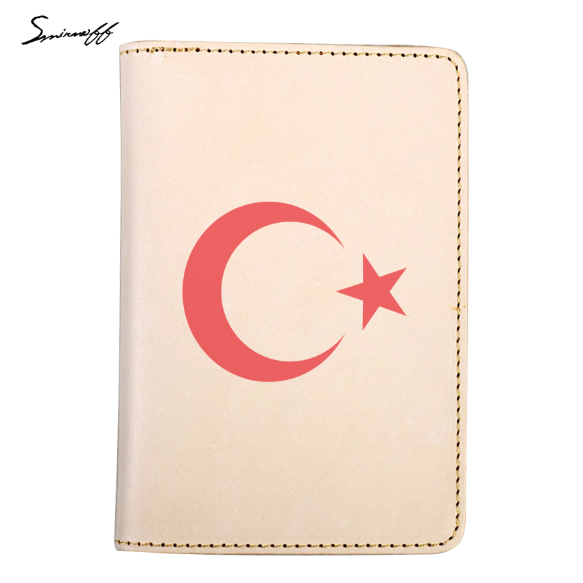 Custom Photo The National Emblem Of Turkey Passport Bag Small Card Holder Original Leather Passport Cover