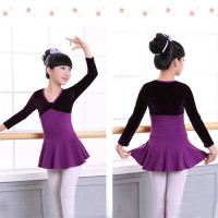 11 11 Velvet Splice Cotton Gymnastics Dance Leotard Girls Children Kids Long Sleeve Ballet Dance Dress