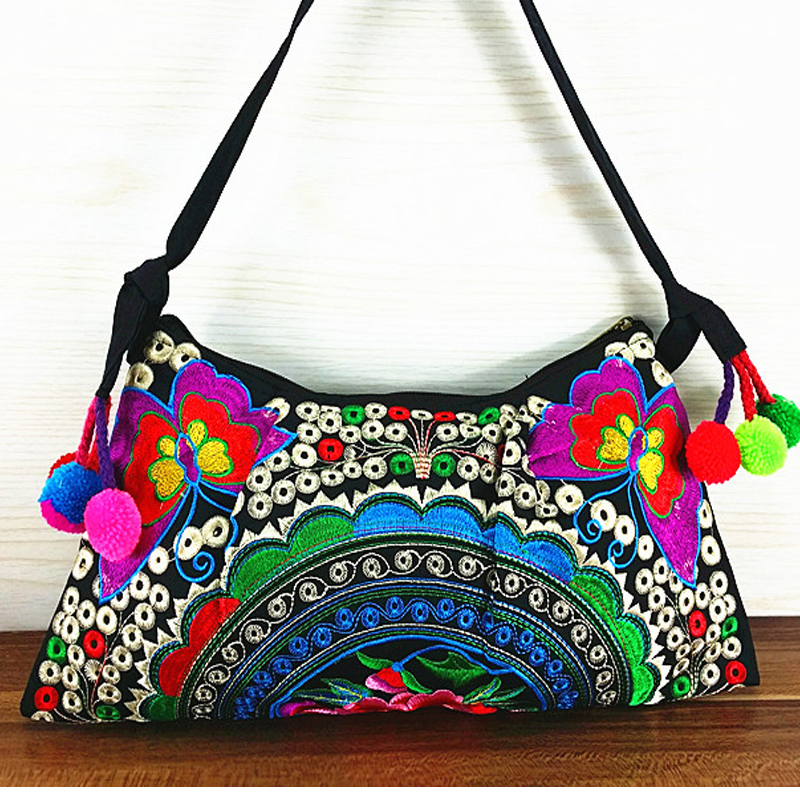 Online Hot S Ethnic Erfly Embroidery Canvas Womens Shoulder Bags Vintage Handmade Colors Pompon Small Crossbody In From Luggage