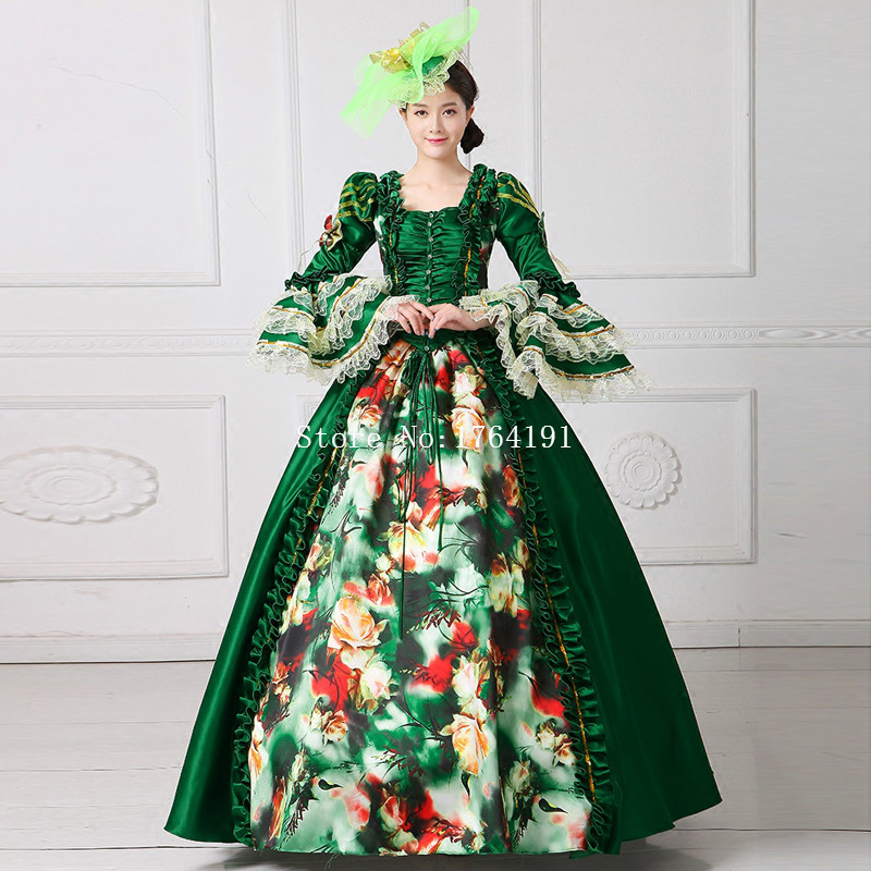 2017 Green Square Collar Flowers Printing Pattern Rococo Gown ...
