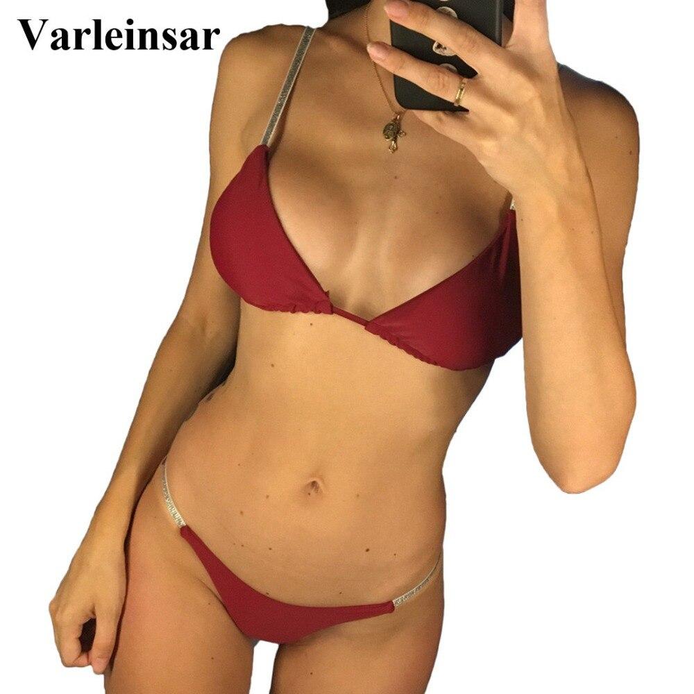 New Sexy Shiny High Cut 2019 Bikini Women Swimwear Female Swimsuit Two-pieces Brazilian Bikini set Bather Bathing Suit Swim V745 costumi moda 2019