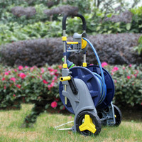 A 8%Portable Retractable Garden Water Hoses Reels with Wheels Height Adjustable Water Hose Holder Cart Aluminum+plastic
