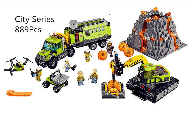 Model building kits compatible with lego city 60124 Operations Center Truck Excavator Dumper 3D brick model building toys 889pcs