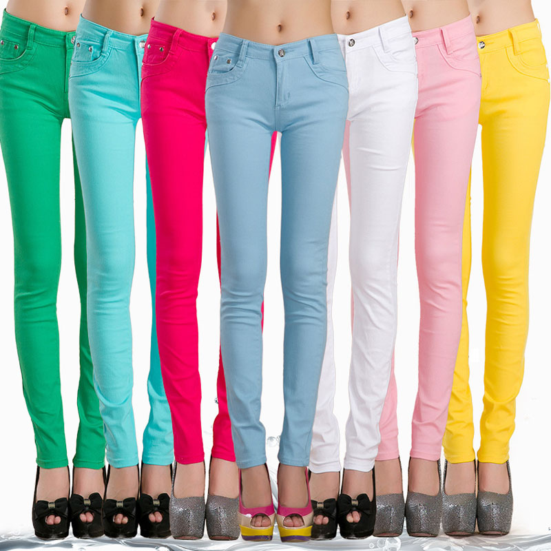 HEE GRAND Women's Pencil   Jeans   Plus Size 32 Candy Pants 2019 Trousers Mid Waist Full Length Zipper Stretch Skinny Pants WKP348