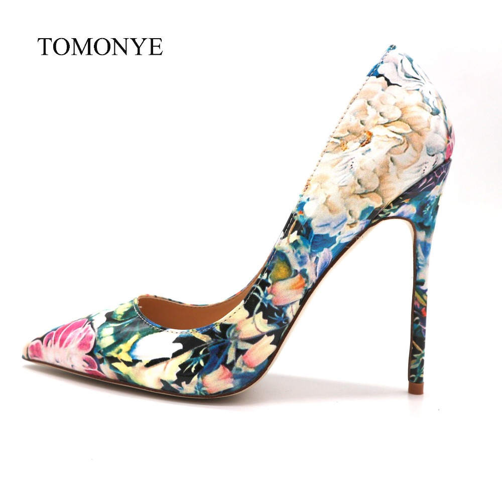 New designer blue with pink flower patent leather pointed toe luxury ladies heels women 12cm high
