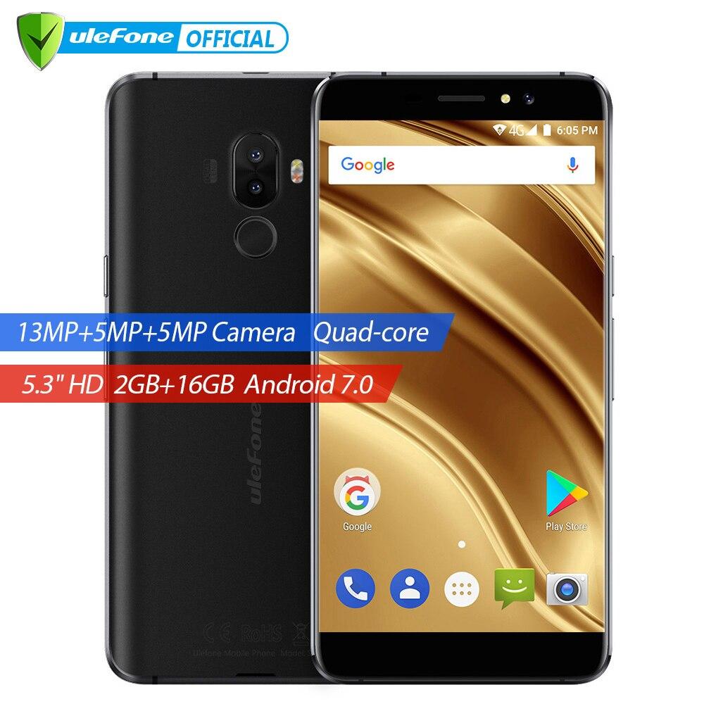 Ulefone S8 Pro Dual сзади камеры мобильного телефона 5.3 дюймов HD mtk6737 4 ядра android 7.0 2 ГБ + 16 ГБ 13MP отпечатков пальцев 4 г смартфон