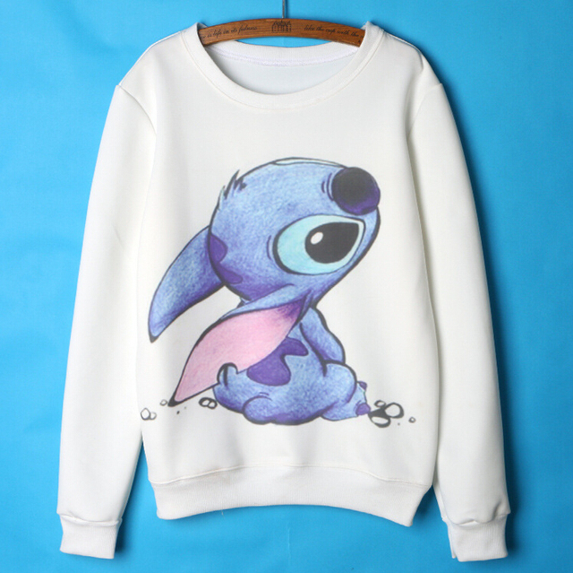 Lilo and stitch Hoodies Women Cute Cartoon Sweatshirts Womens Hoodies  Pullover White Femme 2015 Autumn Winter