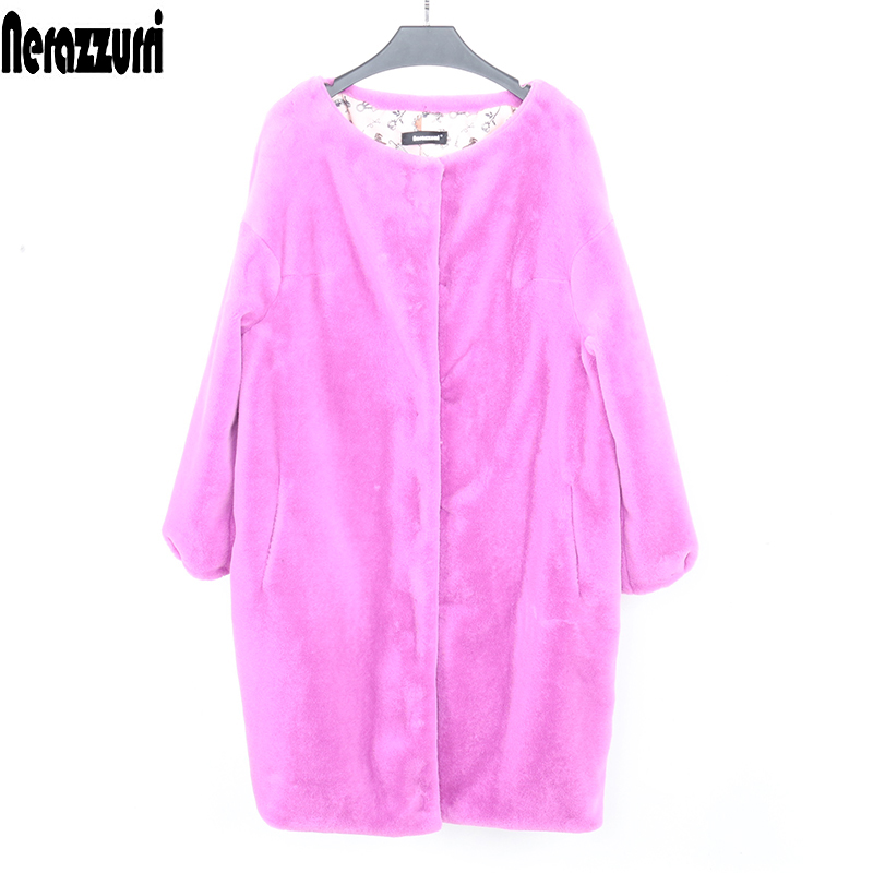 Nerazzurri Faux Fur Jacket Women New Arrival 2019 Cocoon Coat Bat Sleeved Soft Plus Size Furry Fluffy Fake Fur Coat 5xl 6xl 7xl