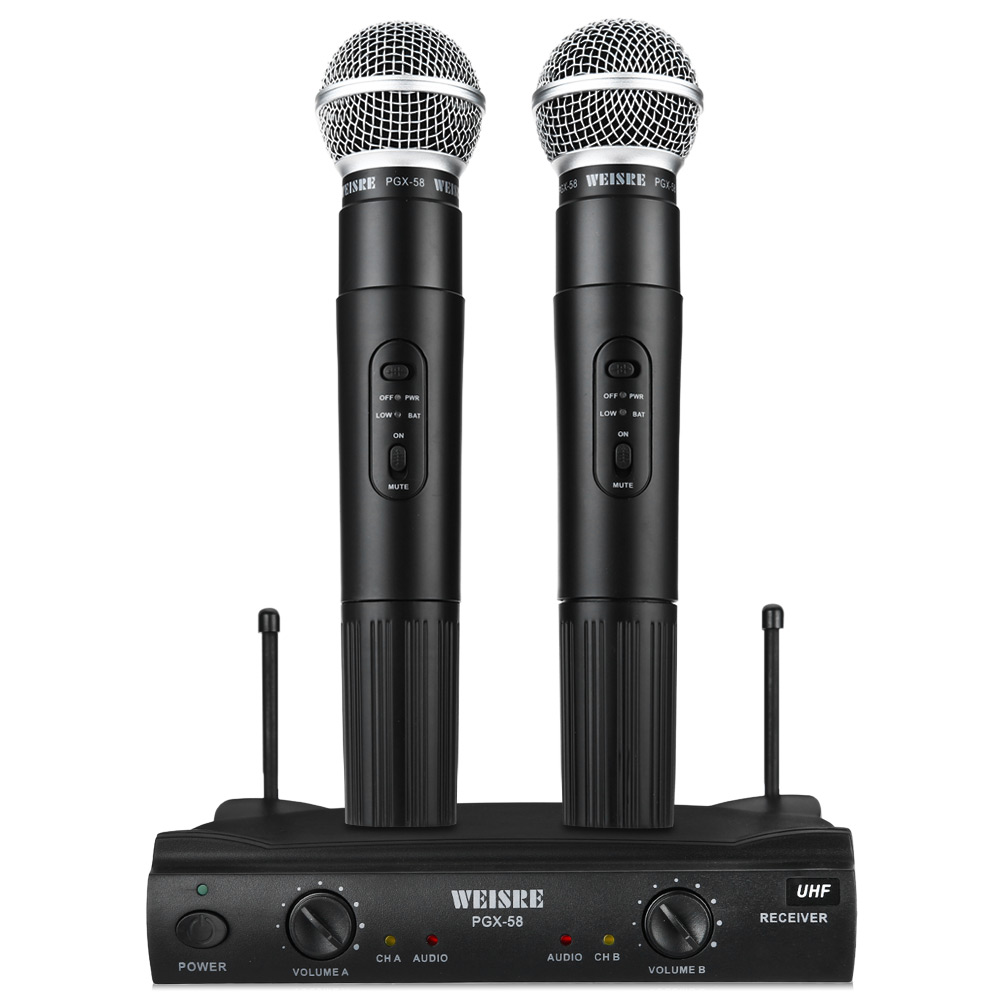 цена на Professional WEISRE PGX-58 UHF/VHF Dual Wireless Microphone System Dual Handheld 2 x Mic Cordless Receiver For Karaoke Party KTV