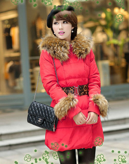 2013 New Fashion Luxury Womens Winter Fur Collar Thick Coat Slim Outerwear Warm Zipper Parka Down Jackets Gift