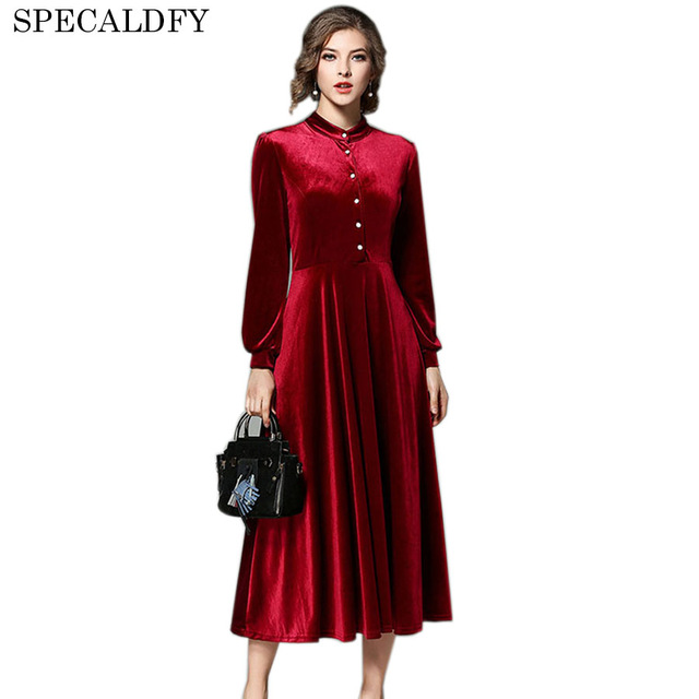 2018 Autumn Winter Dresses Evening Party Black Red Velvet Dress For Women Long Sleeve Vintage