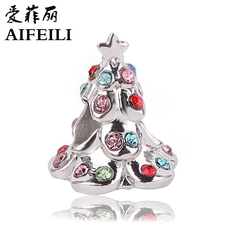 AIFEILI 2018 For Pandora Charms Bracelets Original Silver Color Christmas Tree Charm DIY Jewelry Beads Original