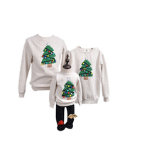 2019 New Autumn and Winter Christmas Tree Mother Daughter Father Son Tees Sweatshirts Family Matching Clothes